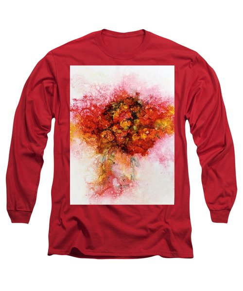 Bouquet In Red Long Sleeve T-Shirt by Carolyn Rosenberger