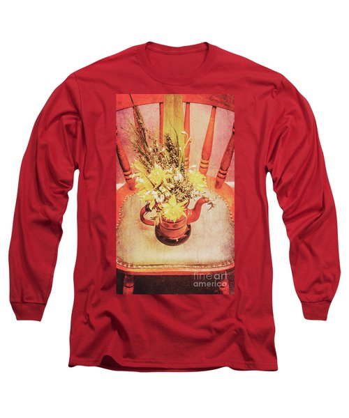 Bouquet Of Dried Flowers In Red Pot Long Sleeve T-Shirt