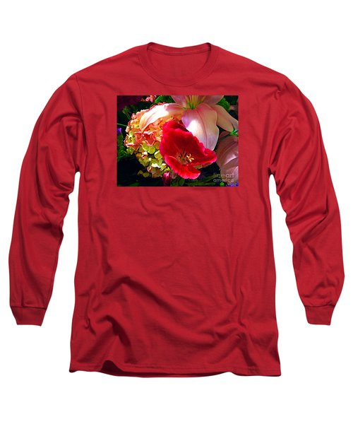Long Sleeve T-Shirt featuring the photograph Bouquet Of Lilies Poppy And Hydrangea by Merton Allen
