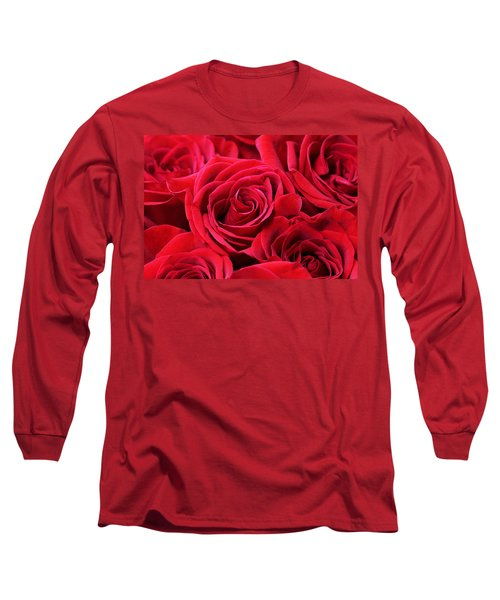 Bouquet Of Red Roses Long Sleeve T-Shirt by Peggy Collins