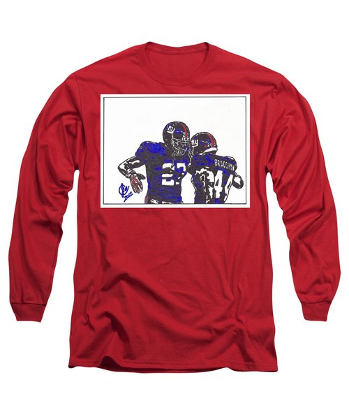 Long Sleeve T-Shirt featuring the drawing Brandon Jacobs And Ahmad Bradshaw by Jeremiah Colley
