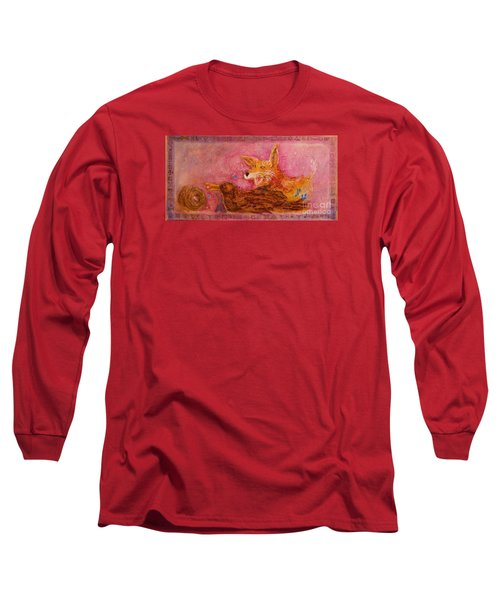 Long Sleeve T-Shirt featuring the painting Bre Fox And Bre Crow by Gertrude Palmer