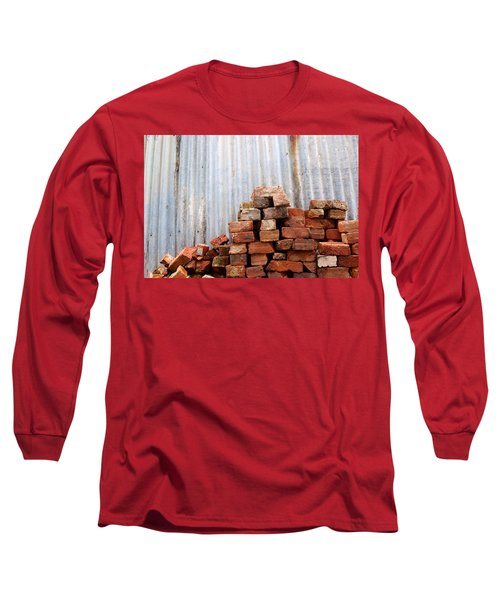 Long Sleeve T-Shirt featuring the photograph Brick Piled by Stephen Mitchell