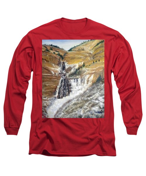 Long Sleeve T-Shirt featuring the painting Bridal Veil Falls In Winter by Sherril Porter