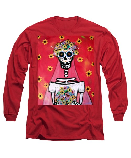 Long Sleeve T-Shirt featuring the painting Bridezilla Dia De Los Muertos by Pristine Cartera Turkus