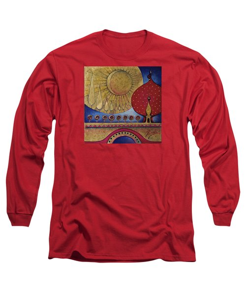 Long Sleeve T-Shirt featuring the painting Bridge Between Sunrise And Moonrise by Anna Ewa Miarczynska