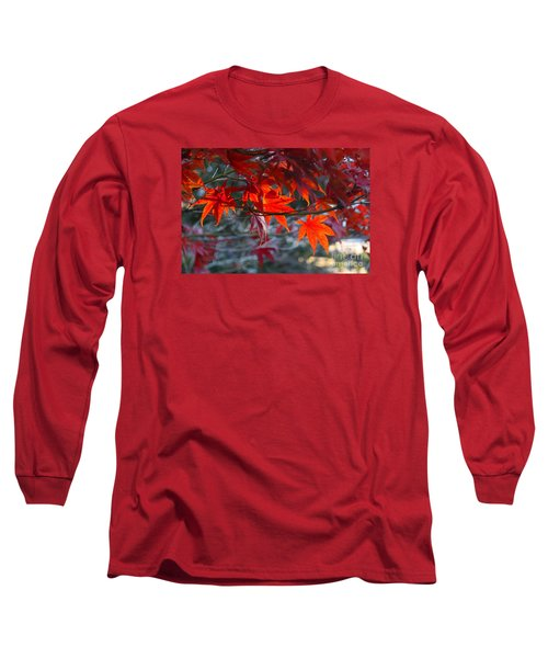 Bright Autumn Leaves Long Sleeve T-Shirt by Yumi Johnson