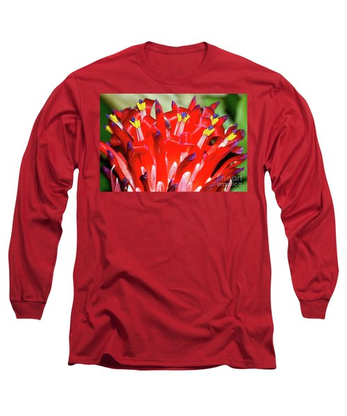 Long Sleeve T-Shirt featuring the photograph Bright Blooming Bromeliad By Kaye Menner by Kaye Menner