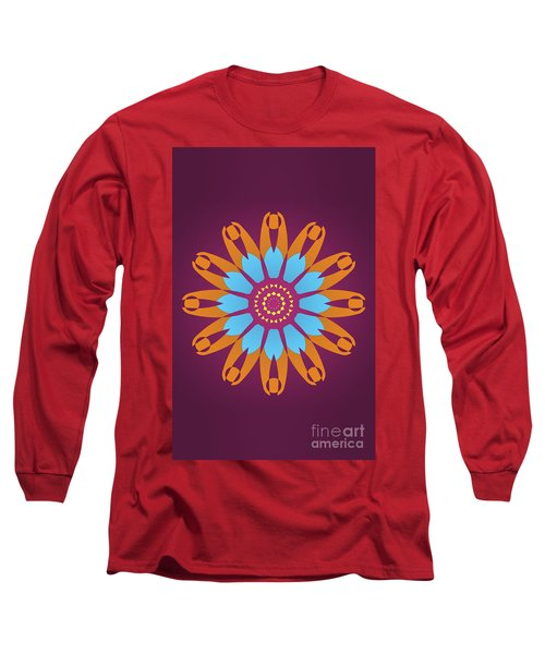 Bright Purple Back And Abstract Orange And Blue Star Long Sleeve T-Shirt