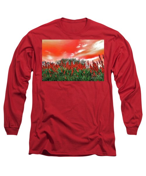 Long Sleeve T-Shirt featuring the photograph Bright Red Aloe Flowers By Kaye Menner by Kaye Menner
