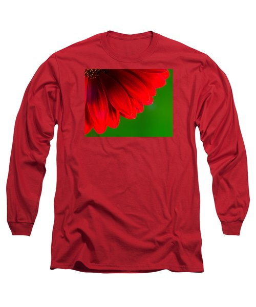 Bright Red Chrysanthemum Flower Petals And Stamen Long Sleeve T-Shirt by John Williams