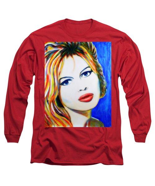 Brigitte Bardot Pop Art Portrait Long Sleeve T-Shirt