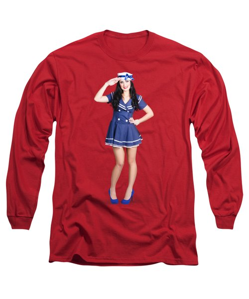 British Navy Blue Pin Up Girl Saluting Long Sleeve T-Shirt