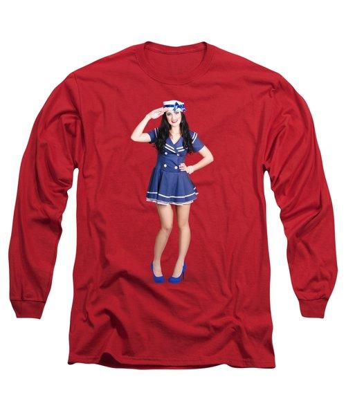 British Navy Blue Pin Up Girl Saluting Long Sleeve T-Shirt