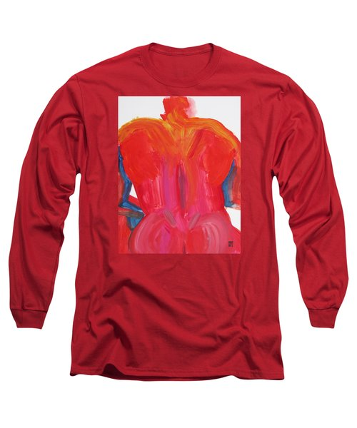 Long Sleeve T-Shirt featuring the painting Broad Back Red by Shungaboy X