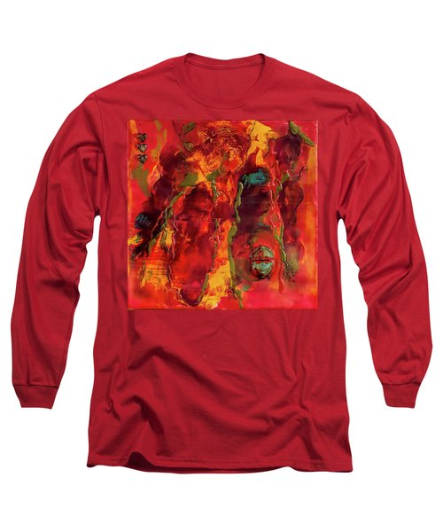 Long Sleeve T-Shirt featuring the painting Broken Mask Encaustic by Bellesouth Studio