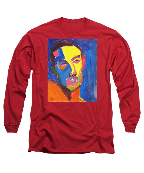 Long Sleeve T-Shirt featuring the painting Bryan Portrait by Shungaboy X