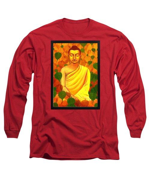 Buddha In Green Leaves Long Sleeve T-Shirt