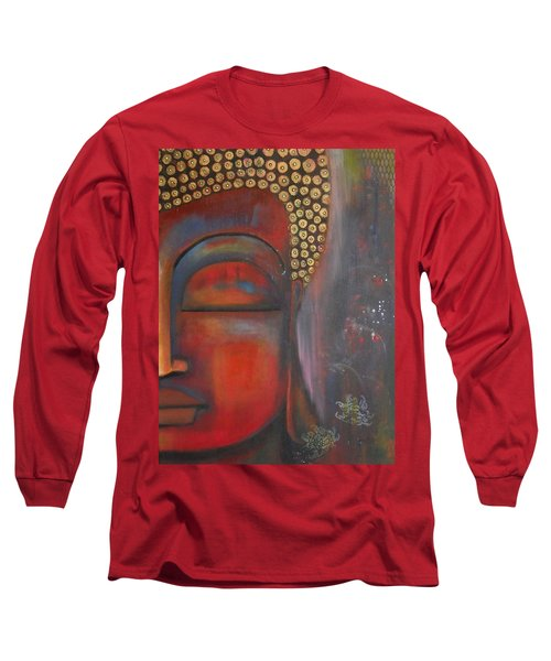 Long Sleeve T-Shirt featuring the painting Buddha With Floating Lotuses by Prerna Poojara