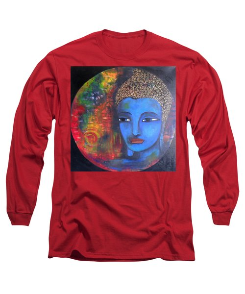 Long Sleeve T-Shirt featuring the painting Buddha Within A Circular Background by Prerna Poojara