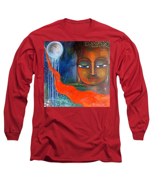 Long Sleeve T-Shirt featuring the painting Buddhas Robe Reaching For The Moon by Prerna Poojara