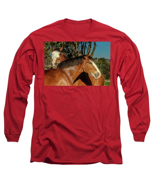 Long Sleeve T-Shirt featuring the photograph Budweiser Clydesdales  by Bill Gallagher