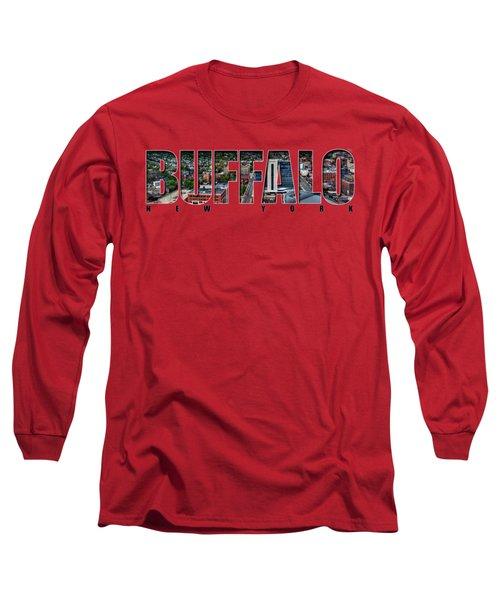 Buffalo Ny Niagara, Elmwood And Delaware Long Sleeve T-Shirt by Michael Frank Jr