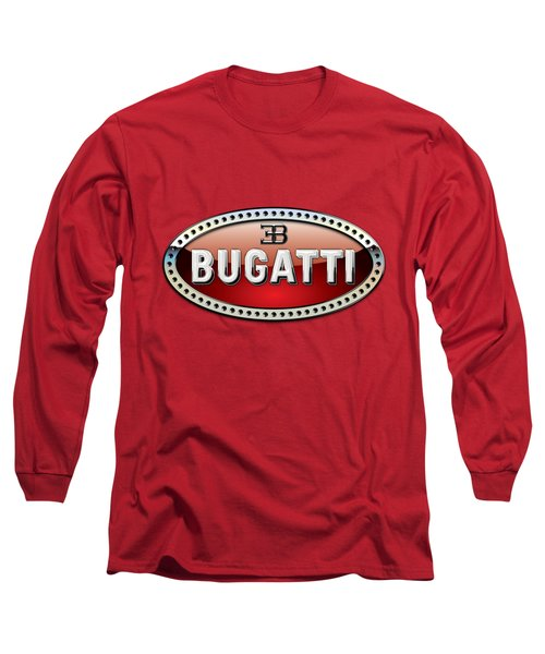 Bugatti - 3 D Badge On Red Long Sleeve T-Shirt