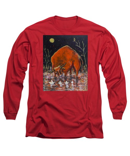 Bull And Paper Boats Long Sleeve T-Shirt by Maxim Komissarchik