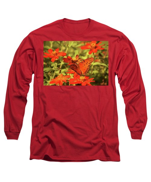 Long Sleeve T-Shirt featuring the photograph Butterfly And Flower II by Donna G Smith