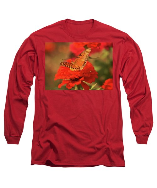 Long Sleeve T-Shirt featuring the photograph Butterfly In Garden by Donna G Smith