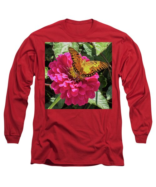Butterfly On Pink Flower Long Sleeve T-Shirt by Mark Barclay