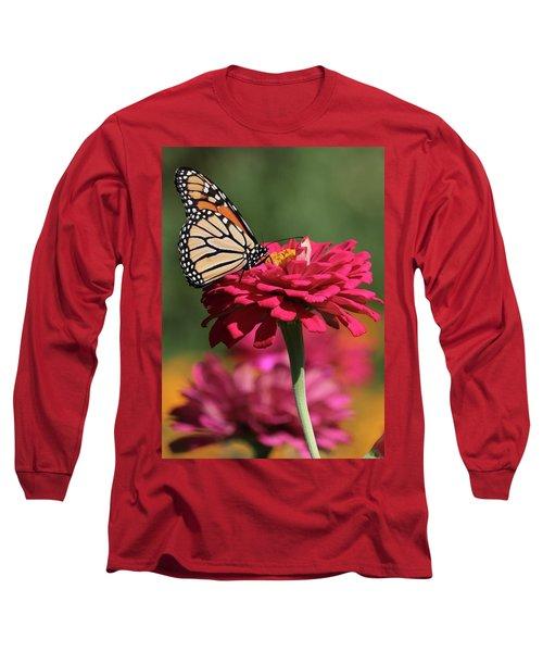 Butterfly On Zinnia Long Sleeve T-Shirt