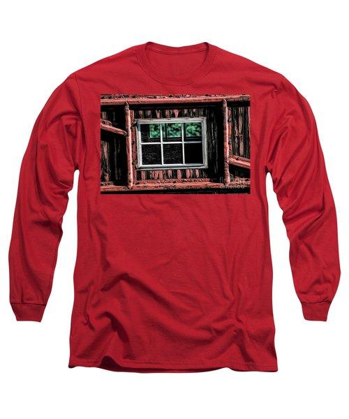 Long Sleeve T-Shirt featuring the photograph Caboose Window by Brad Allen Fine Art