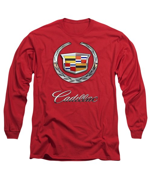 Cadillac - 3 D Badge On Red Long Sleeve T-Shirt by Serge Averbukh