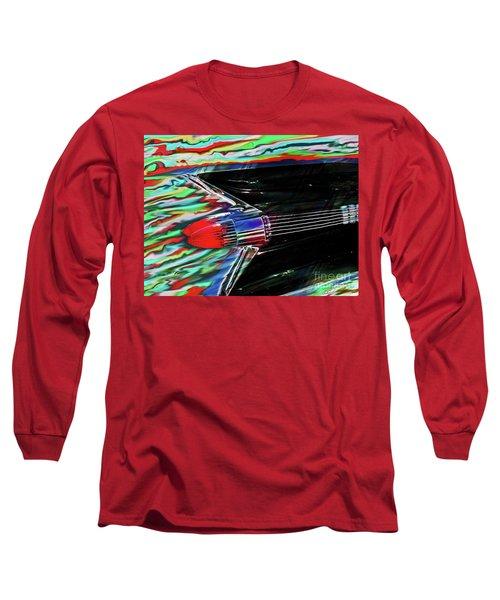 Cadillac Tail Fin Guitar Fantasy Long Sleeve T-Shirt by Patricia L Davidson