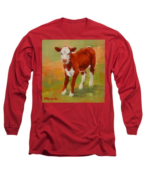 Long Sleeve T-Shirt featuring the painting Calf Miniature by Margaret Stockdale
