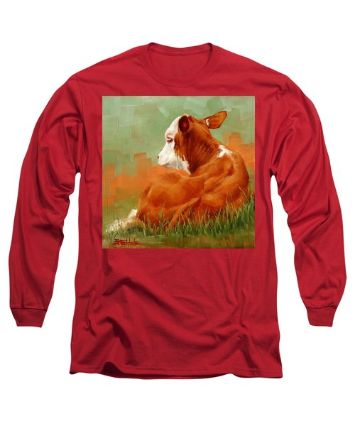 Long Sleeve T-Shirt featuring the painting Calf Reclining by Margaret Stockdale