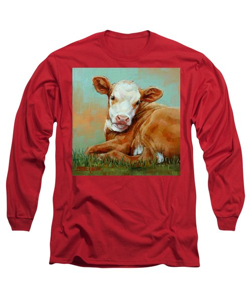 Long Sleeve T-Shirt featuring the painting Calf Resting by Margaret Stockdale