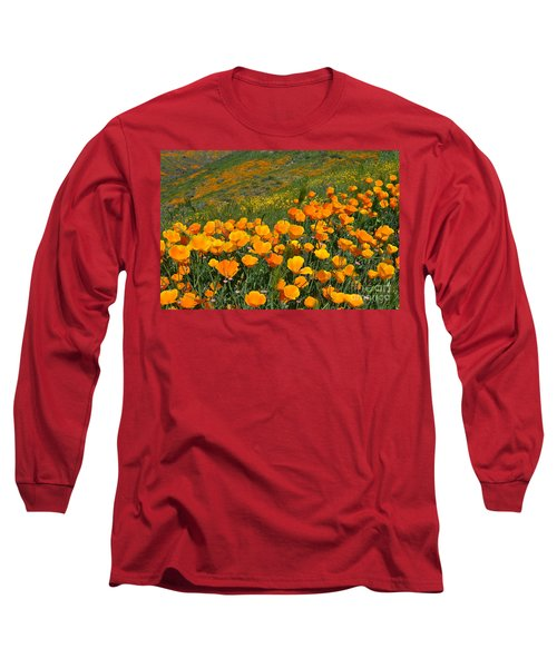 California Golden Poppies And Goldfields Long Sleeve T-Shirt by Glenn McCarthy