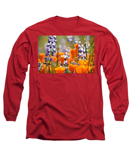 California Poppies And Lupine Long Sleeve T-Shirt by Kyle Hanson