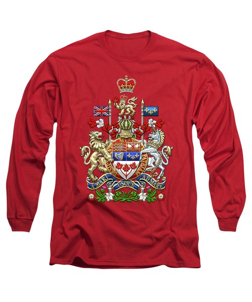 Canada Coat Of Arms Over Red Silk Long Sleeve T-Shirt