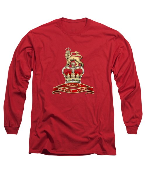 Canadian Provost Corps - C Pro C Badge Over Red Velvet Long Sleeve T-Shirt by Serge Averbukh