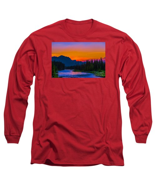 Canadian Rocky Sunset Long Sleeve T-Shirt by John Roberts