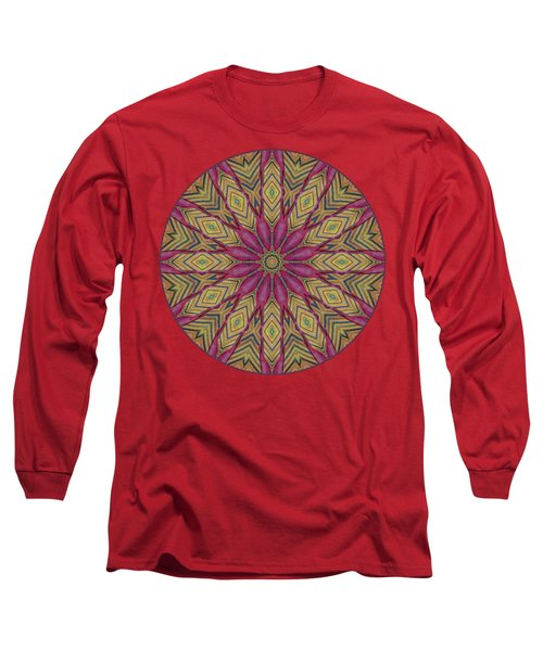Long Sleeve T-Shirt featuring the photograph Canna Leaf - Mandala - Transparent by Nikolyn McDonald