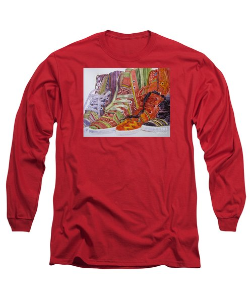 Long Sleeve T-Shirt featuring the painting Canvas  Hightops by Louise Peardon