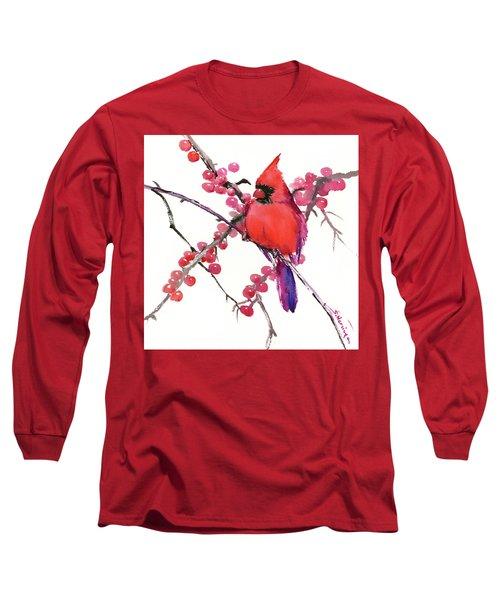 Cardinal And Berries Long Sleeve T-Shirt by Suren Nersisyan