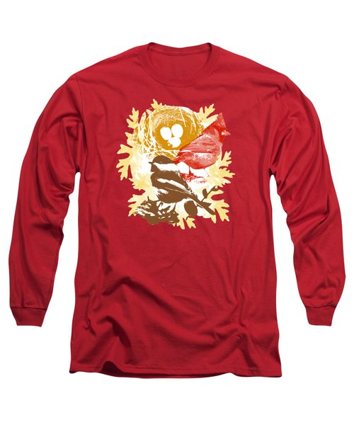 Cardinal Chickadee Birds Nest With Eggs Long Sleeve T-Shirt