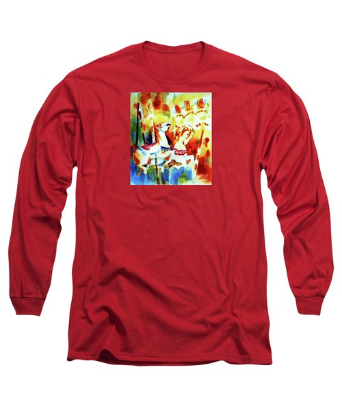 Long Sleeve T-Shirt featuring the painting Carousal 4 by Kathy Braud