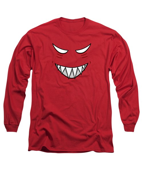 Cartoon Grinning Face With Evil Eyes Long Sleeve T-Shirt